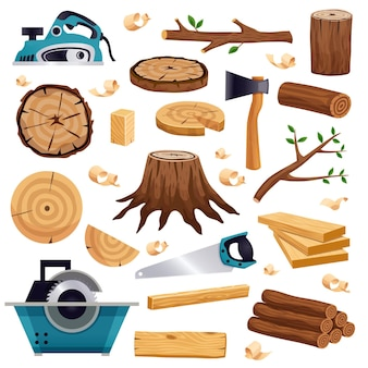 Houtindustrie materiaalgereedschap en productie platte set met boomstam logboeken planken zaagbijl