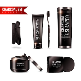 Houtskool cosmetica set
