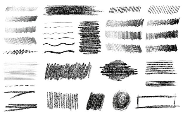 Houtskool en grafietpotlood art brushes vector set