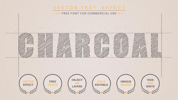 Houtskoolpotlood - bewerkbaar teksteffect, tekenstijl.