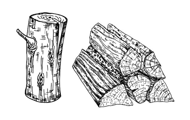 Houtverbrandingsmaterialen houtblokken stam en planken vector schets illustratie materialen voor hout