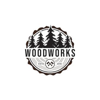 Houtwerk logo ontwerp sjabloon vectorelement geïsoleerd