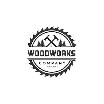 Houtwerk logo ontwerpsjabloon