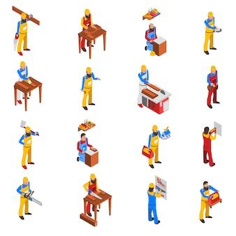 Houtwerk mensen icons set