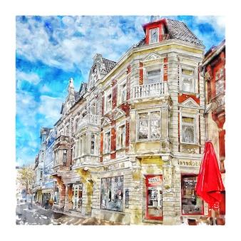 Hoxter duitsland aquarel schets hand getrokken illustratie