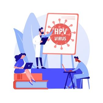 Hpv-onderwijsprogramma's abstract concept vectorillustratie. hpv-bewustmakingsprogramma's, uitleg over het humaan papillomavirus, gezondheidsvoorlichting, online consultatie, abstracte metafoor voor virusinformatie.