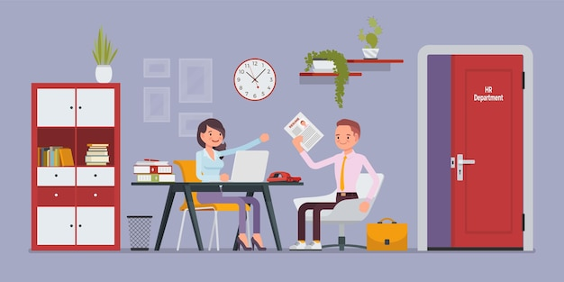 Hr-kantoorinterview in gesprek met sollicitant