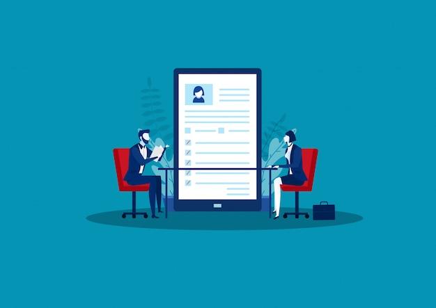 Hr manager interviewen sollicitatiegesprek voor vrouwelijke kandidaten