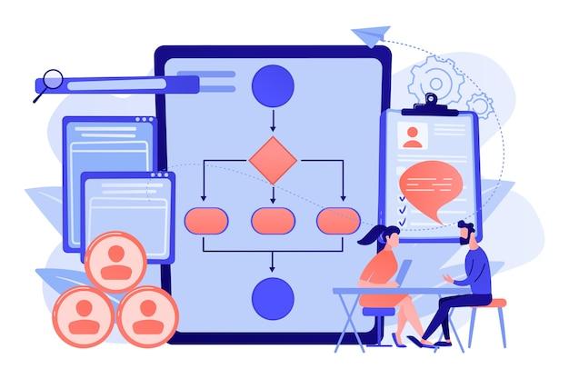 Hr-manager met werknemer bij interview en zakelijk stroomschema. software voor werknemersbeoordeling, hr-bedrijfssysteem, illustratie van het concept van het programma voor werknemerscontrole