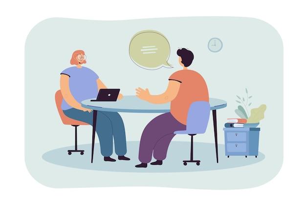 Hr-manager praten met kandidaat op sollicitatiegesprek vlakke afbeelding. cartoon werknemer of werkzoekende ontmoeting met werkgever
