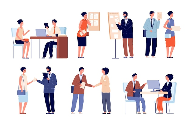 Hr werkgever interview. business team en kantoormedewerker. zoekers met cv-aanvraag en wervingsservice. advocaat overleg vector set. sollicitatiegesprek, werkgever en werknemer illustratie