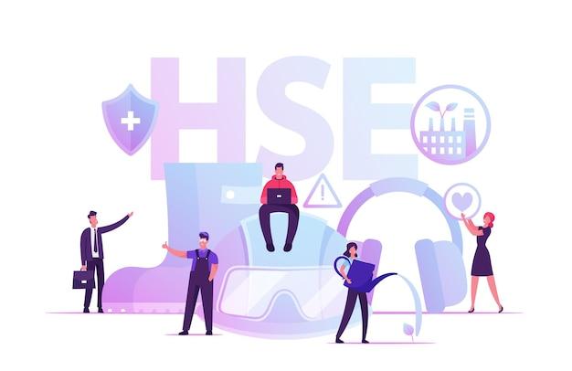 Hse-concept. kleine mannelijke en vrouwelijke karakters en attributen om te werken. cartoon vlakke afbeelding