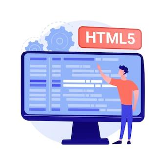 Html5-programmering. ontwikkeling van internetwebsites, engineering van webapplicaties, schrijven van scripts. html-code optimalisatie, programmeur bugs concept illustratie oplossen