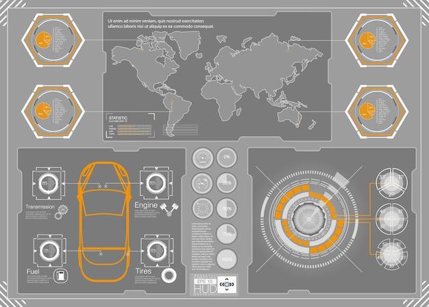 Hud achtergrond kosmische ruimte. infographic elementen. futuristische gebruikersinterface. webinterface-elementen. spel doel navigatie-interface hud ui. illustratie.