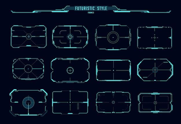 Hud aim control frames, sci fi game ui interface