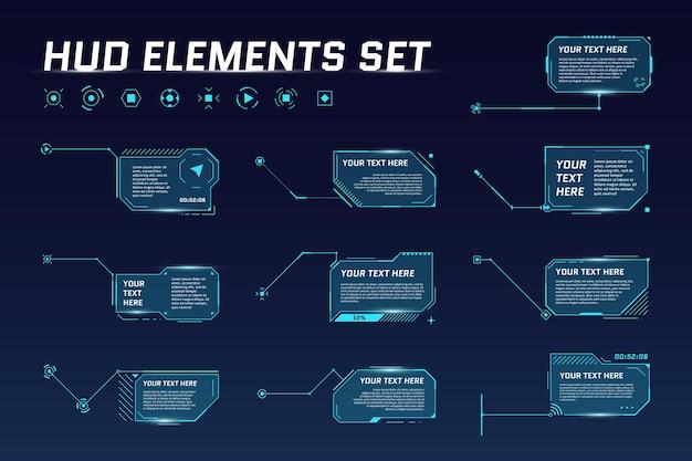 Hud digitale futuristische titelset. roep sci-fi framebalklabels op. presentatie of infographic moderne lay-outsjablonen voor digitale infoboxen. interface hud ui gui-element. vector illustratie
