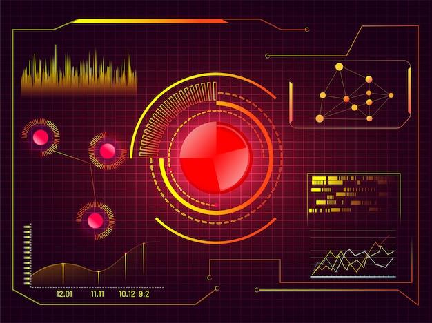 Hud futuristische gebruikersinterface-achtergrond met verschillende infographic elementen.