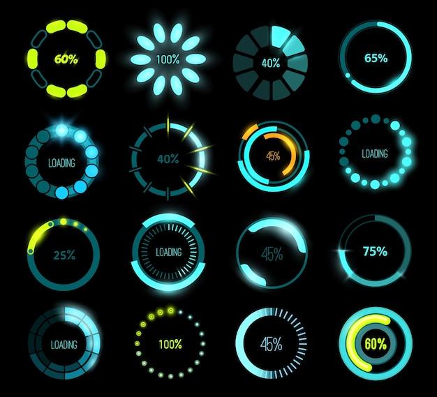 Hud futuristische laadbalken, game of programma ui-interface. vector cirkelvormige voortgangsbalken met gloeiende laadschalen en percentage-indicatoren, toekomstige laadtechnologiebalken van head-up display