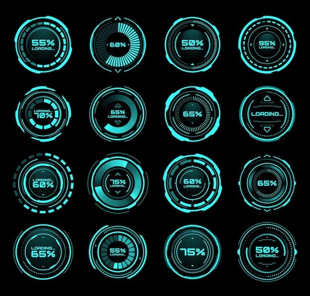 Hud futuristische laadbalken van proces- en statusinterface vectorpictogrammen. digitaal technologiepaneel met hud-downloadbalken op neonscherm of dashboardbediening op display met procentstatus