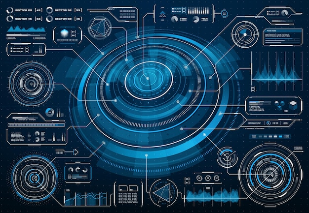 Hud futuristische scherminterface of sci fi-infographic met big data-infografiek. hud-vectorscherminterface met diagrammen, stroomdiagrammen en grafieken op dashboardpaneel, digitale gebruikersinterface voor toekomstige technologie