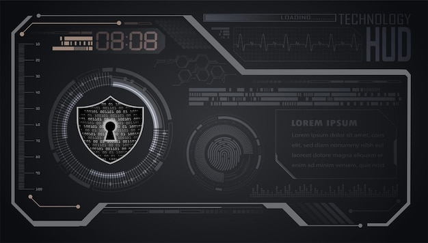 Hud, gesloten hangslot op digitaal, cyberveiligheid