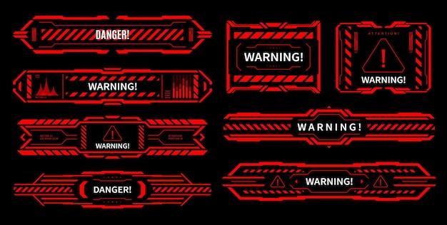 Hud gevaar en alerte aandacht rode interfacetekens