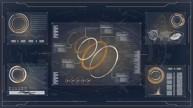Hud gui futuristisch element set van cirkel abstract digitale technologie ui futuristisch hud virtual inte in Premium Vector