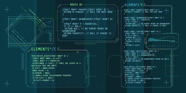 Hud-interface-elementen met een deel van de code c.