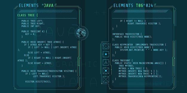 Hud-interface-elementen met een deel van de code java.