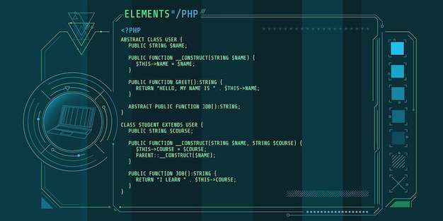 Hud-interface-elementen met een deel van de code php.