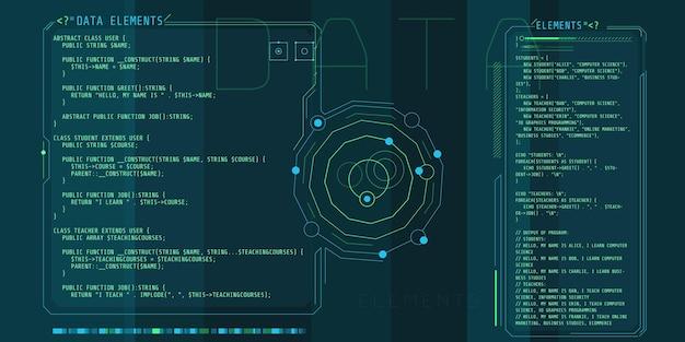 Hud-interface-elementen met een deel van de php-code.