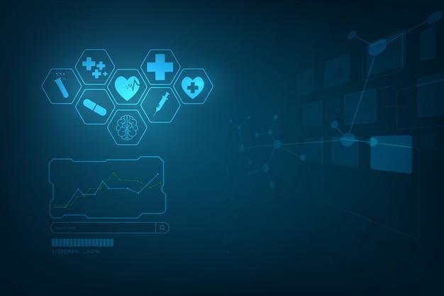 Hud interface virtuele hologram toekomstige systeem gezondheidszorg innovatie achtergrond