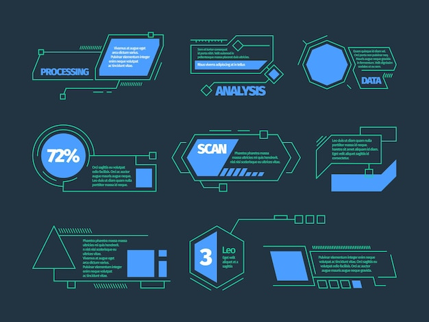 Hud-oproepen. toekomstige technologie frames tech bars dozen vector digitale callouts collectie. futuristische infographic, digitale technologie hologram illustratie