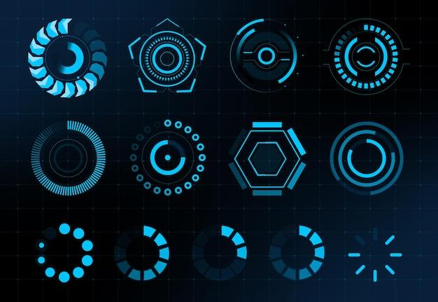 Hud ronde futuristische laadbalken set. gebruikersomgeving. hi-tech. vecor