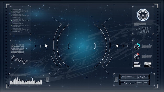 Hudmodern infographic verbindingssjabloon hud ui play-pictogram