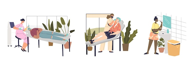 Huid- en lichaamsverzorgingsset met vrouwelijke cosmetologieprocedures thuis of in de schoonheidssalon met professionele specialisten. huidverzorging behandeling concept. cartoon platte vectorillustratie