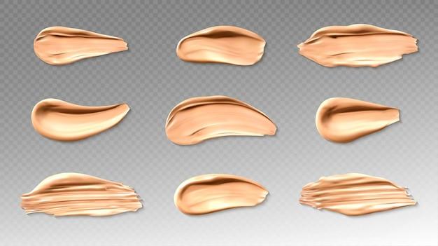 Huid foundation of concealer uitstrijkje penseelstreken ingesteld