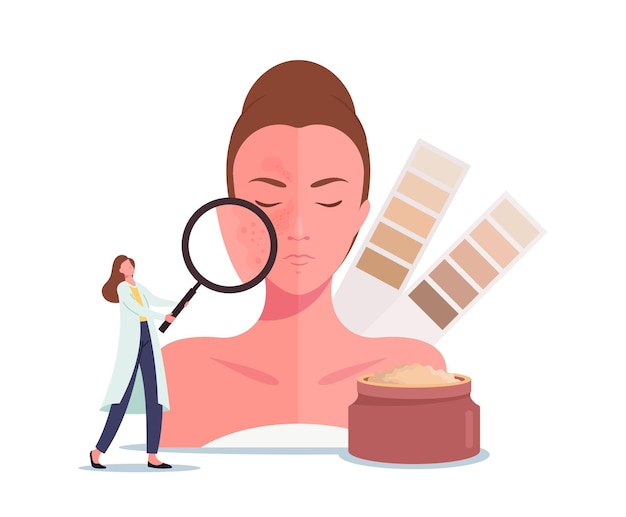 Huid whitening of lightening concept. tiny cosmetologist doctor karakter met enorm vergrootglas en kleurenschaal kijk op het gezicht van de vrouw met donkere vlekken of sproeten. cartoon mensen vectorillustratie