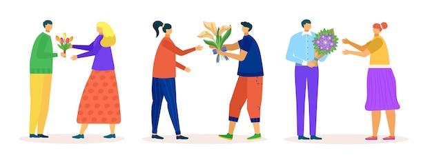 Huidige bloem cadeau set vector illustratie man persoon karakter geven boeket aan vrouw romantische gre...