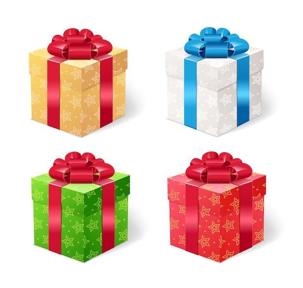 Huidige box set. vier geschenk in een glanzend pakket.
