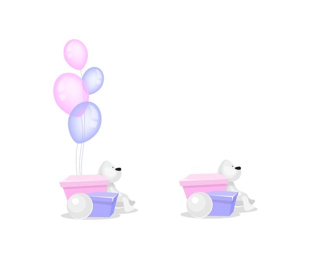 Huidige doos met objecten met ballonnen egale kleur. konijn speelgoed. verjaardagscadeau dozen. speelgoed donatie geïsoleerde cartoon afbeelding voor web grafisch ontwerp en animatie collectie