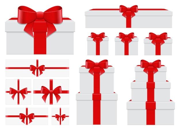 Huidige doos vastgestelde illustratie die op witte achtergrond wordt geïsoleerd