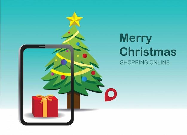 Huidige geschenk voor kerstmis winkelen in smartphone application concept marketing en digitale marketing