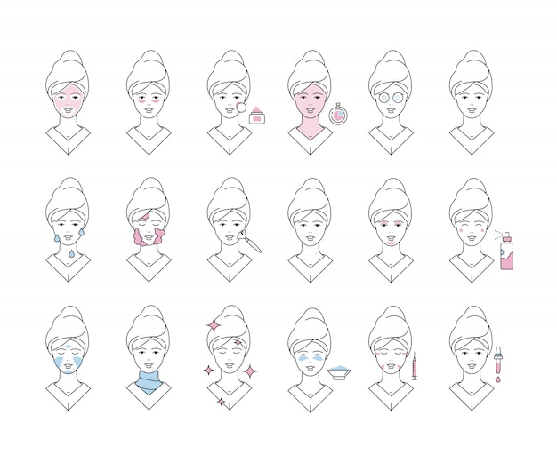Huidsverzorging. gezichtsmasker gezichtsbescherming schuim spa meisje make-up exfoliërende iconen collectie