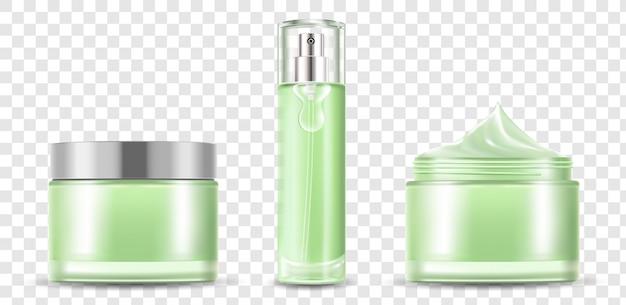 Huidtoner en groene lege fles met room