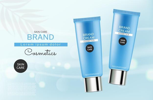 Huidverzorging blauwe cosmetica flessen vector realistisch productplaatsing abstracte blauwe bokeh
