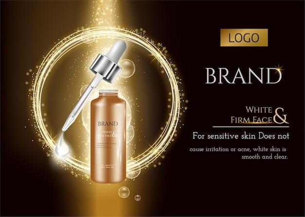 Huidverzorging donker goud met spiraalvormige en druppelfles op gouden luxe achtergrond en lichteffect