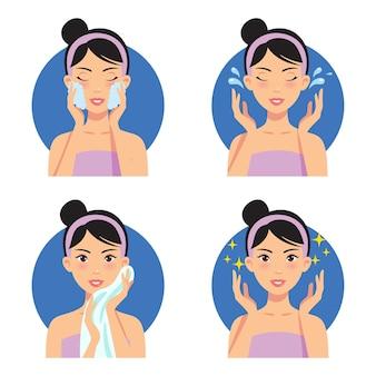 Huidverzorging gezicht reinigen wassen schoonheid regime illustratie