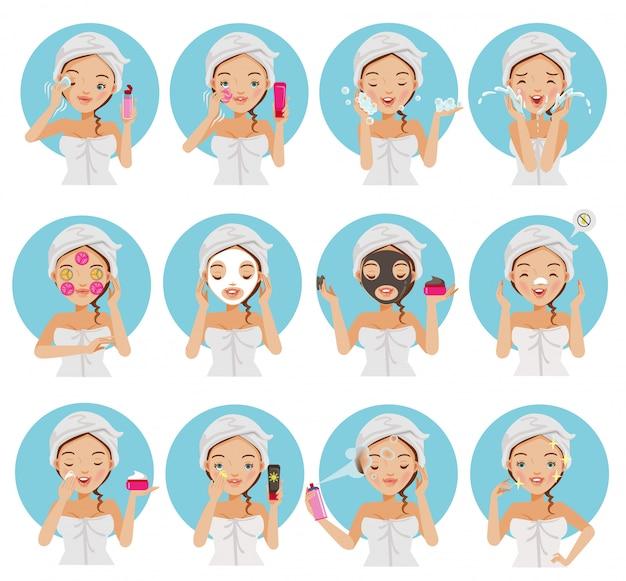Huidverzorging gezicht van vrouwen ingesteld.