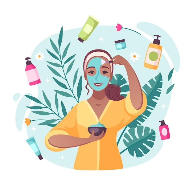 Huidverzorging schoonheidsproducten cartoon samenstelling met crèmes vochtinbrengende lotions wervelend rond het toepassen van gezichtsmasker meisje illustratie